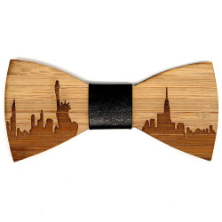 NP0002 BOBIJOO Jewelry Bamboo Wood Bow Tie New-York USA