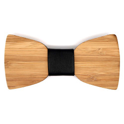 NP0009 BOBIJOO Jewelry Classic Bamboo Wood Bow Tie Neutral