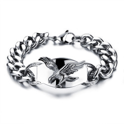GO0010 BOBIJOO Jewelry Curb chain Bracelet Man Biker Flying Eagle USA Steel