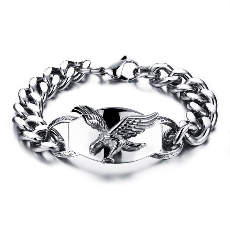 GO0010 BOBIJOO Jewelry Gourmette Bracelet Homme Biker Aigle Volant USA Acier