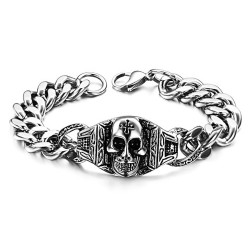 GO0011 BOBIJOO Jewelry Curb catena Bracciale Uomo Biker Templari (Testa di Morte
