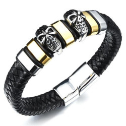 BR0159 BOBIJOO Jewelry Bracelet Biker Leather skull Steel Silver Golden