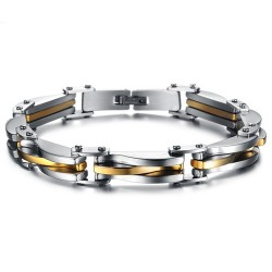 BR0160 BOBIJOO Jewelry Armband Biker Edelstahl Silber Vergoldet Ästhetik