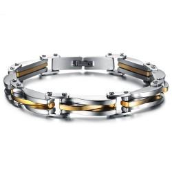 BR0160 BOBIJOO Jewelry Bracciale Biker In Acciaio Inox Argento Dorato Estetica
