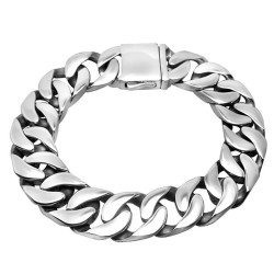 BR0166 BOBIJOO Jewelry Chain Bracelet stainless Steel Man Large Mesh Silver 14mm