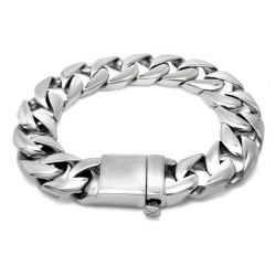 BR0167 BOBIJOO Jewelry Chain Bracelet stainless Steel Man Large Mesh Silver 15mm