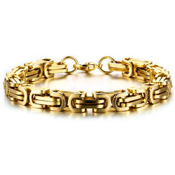 BR0168 BOBIJOO Jewelry Armband Mann-Masche-Byzantinischen Edelstahl Menschen Gold Ende