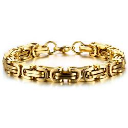 BR0168 BOBIJOO Jewelry Pulsera De Hombre De Malla Bizantino De Acero De Oro De Hombre De Oro