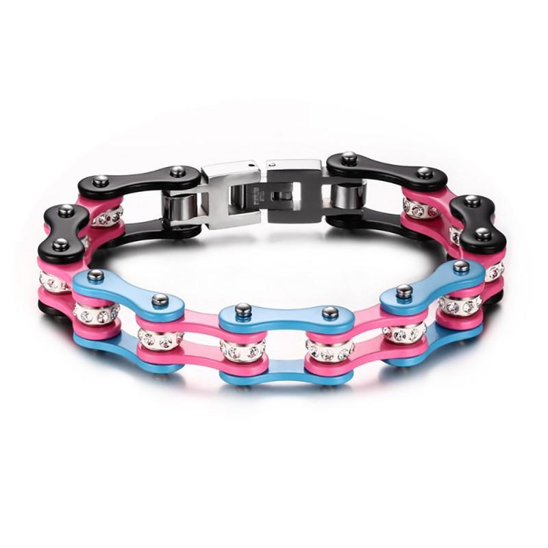 BR0170 BOBIJOO Jewelry Bracelet Mixte Acier Chaîne Vélo Moto Rose Bleu Noir Strass