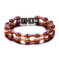 BR0172 BOBIJOO Jewelry Bracciale In Sistema Misto Acciaio-Catena Bici Moto, Arancione, Rosso Strass