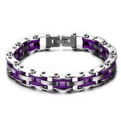 Bracelet Homme Femme Chaine de Moto Acier Silicone Violet