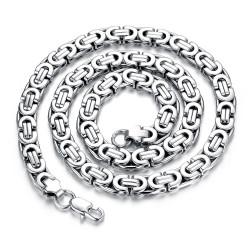 COH0001 BOBIJOO Jewelry Collar Cadena Hombre Malla Bizantina Acero Inoxidable Plata