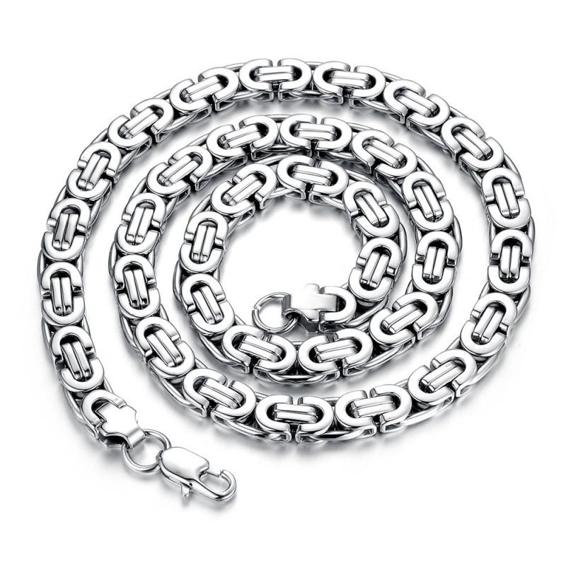 COH0001 BOBIJOO Jewelry Kette Halskette Mann Byzantinisches Netz Edelstahl Silber