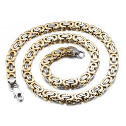 COH0002 BOBIJOO Jewelry Cadena Collar De Hombre De Malla Bizantina De Plata De Acero Acabado En Oro Dorado