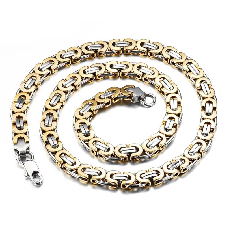 COH0002 BOBIJOO Jewelry Halskette Kette Mann-Masche-Byzantinischen Stahl Silber Gold Ende