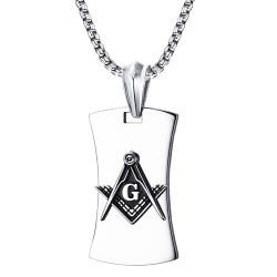 PE0064 BOBIJOO Jewelry Anhänger, Freimaurer, G Winkel-Kompass, Stahl Schwarz Kette