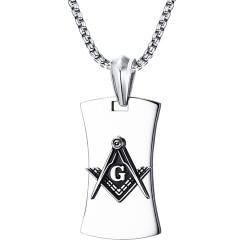PE0064 BOBIJOO Jewelry Pendentif Franc-Maçonnerie G Equerre Compas Acier Noir Chaîne