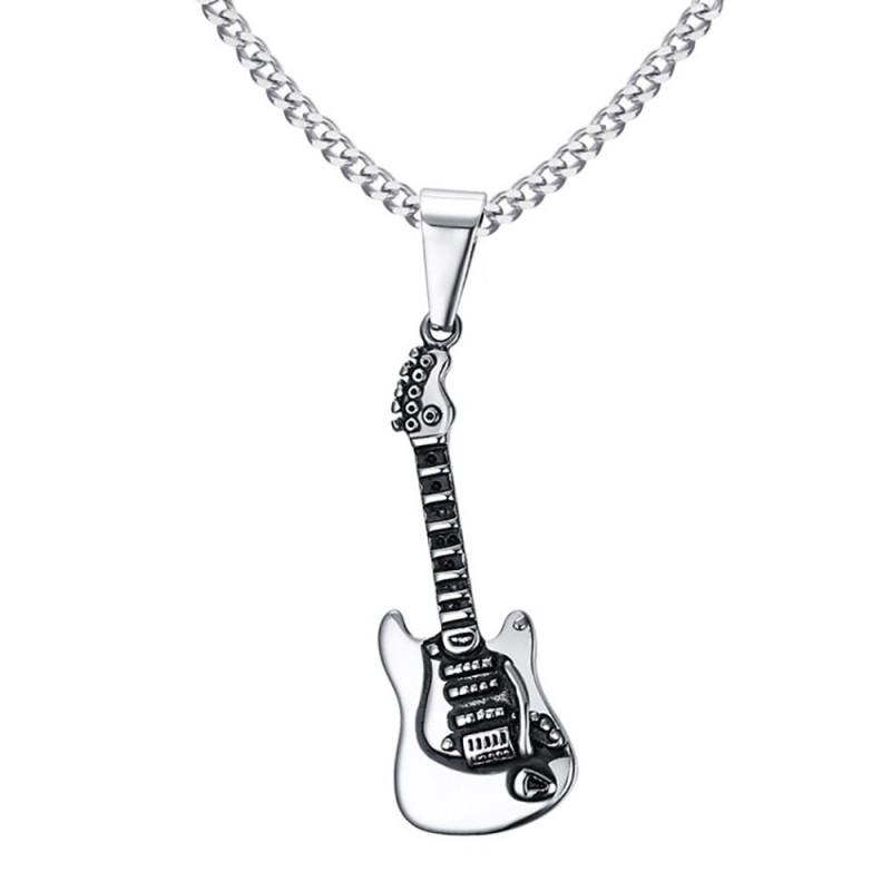 PE0067 BOBIJOO Jewelry Pendentif Homme Guitare Acier Argenté Musicien Rock Chaîne