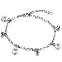 BR0178 BOBIJOO Jewelry Catena alla Caviglia Donna Acciaio Argento Charms Cuore