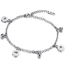 BR0178 BOBIJOO Jewelry La cadena de Tobillo de las Mujeres de Acero de tono de Plata de los Encantos del Corazón