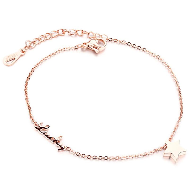 BR0180 BOBIJOO Jewelry Chaîne de Cheville Femme Doré Or Fin Lucky Etoile Bonheur
