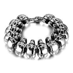 BR0185 BOBIJOO Jewelry Bracciale Uomo Biker cranio Testa del Cranio dell'Acciaio Inossidabile