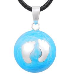 GR0024 BOBIJOO Jewelry Halskette Anhänger Bola Musical Schwangerschaft Kleine Füße In Blau Junge