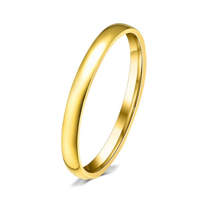 AL0023 BOBIJOO Jewelry Bund Fein 3mm Gemischte Edelstahl Vergoldet, Gold