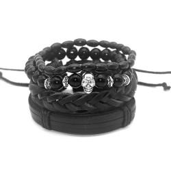 Ensemble de 4 Bracelets Noirs Cuir Pierre Bois Tête de Mort bobijoo