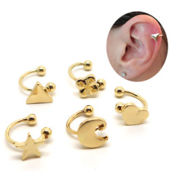 PIP0027 BOBIJOO Jewelry Lot of 5 Ear Clips Golden
