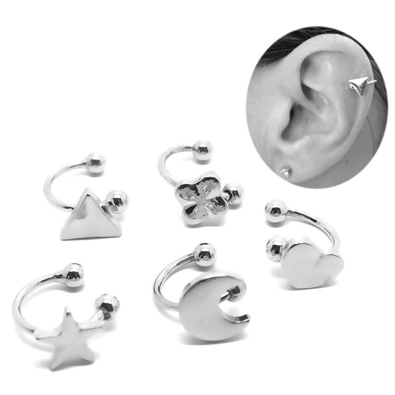PIP0028 BOBIJOO Jewelry Lot de 5 Clips d'Oreille Argenté