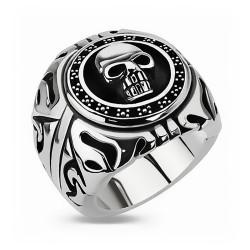BA0147 BOBIJOO Jewelry Imposanter Siegelring Ring Biker Edelstahl Silber Schwarz totenkopf