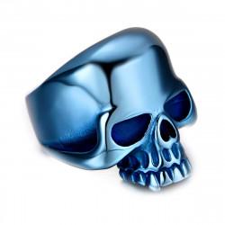 BA0149 BOBIJOO Jewelry Chevalière Bague Biker Tête de Mort Skull Acier Inoxydable Bleu