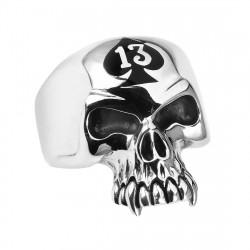 BA0150 BOBIJOO Jewelry El Anillo de sellar Biker Hombre 13 Cabeza de la Muerte de Acero Inoxidable
