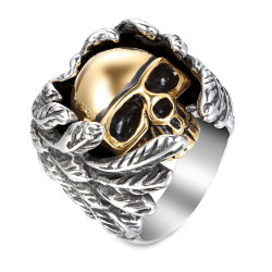 BA0151 BOBIJOO Jewelry Chevalière Bague Biker Homme Mi Ange Mi Démon