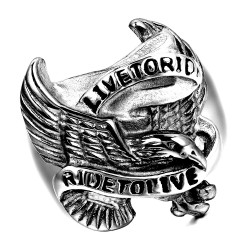 BA0152 BOBIJOO Jewelry Siegelring Ring Mann-Live To Ride-Edelstahl-Silber