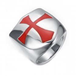 BA0154 BOBIJOO Jewelry Signet Ring Shield Templar Red Cross Stainless Steel