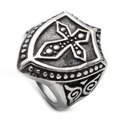 BA0156 BOBIJOO Jewelry Chevalière Bague Bouclier Templier Croix Latine Acier Inoxydable