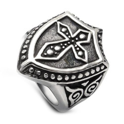 BA0156 BOBIJOO Jewelry Signet Ring Shield Templar Latin Cross Stainless Steel