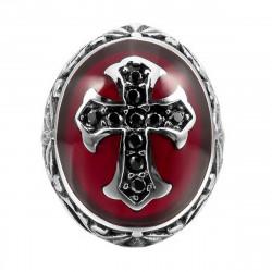 BA0157 BOBIJOO Jewelry Anello Uomo Rosso A Croce Latina, Monarchici Acciaio