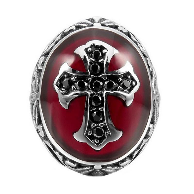 BA0157 BOBIJOO Jewelry Chevalière Bague Homme Rouge Croix Latine Royaliste Acier
