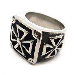 BA0163 BOBIJOO Jewelry Chevalière Bague Croix Pattée Templière Triangle
