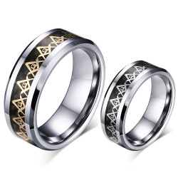 BA0168 BOBIJOO Jewelry Anillo Anillo De La Alianza Masón De Carbono De Tungsteno