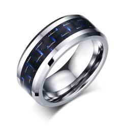 BA0169 BOBIJOO Jewelry Anillo Anillo De La Alianza De Tungsteno Negro De Carbono Azul