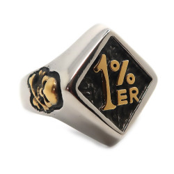 BA0173 BOBIJOO Jewelry Ring Signet Ring Biker Skull Crossbones Crusaders Golden