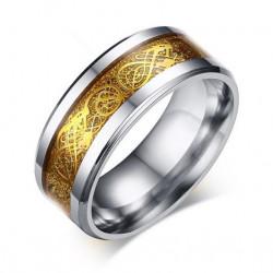 BA0175 BOBIJOO Jewelry Ring-Alliance-Ring Stahl Silber Mit Goldenem Drachen, Glänzend