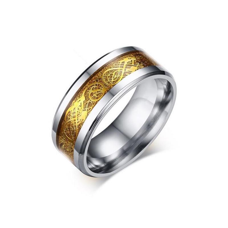 BA0175 BOBIJOO Jewelry Bague Alliance Anneau Acier Argenté Doré Dragon Brillant