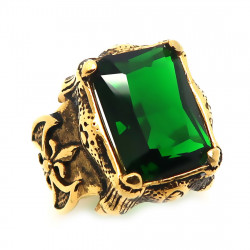 BA0176 BOBIJOO Jewelry Signet Ring Royalist Fleur-de-Lys Gilt Gold End Green