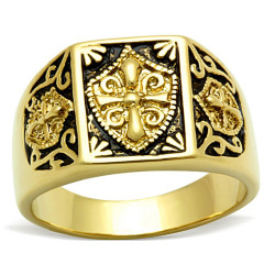 BA0184 BOBIJOO Jewelry Anillo Anillo De Acero Dorado Acabado En Oro Cruz Templaria Ecu