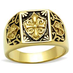 BA0184 BOBIJOO Jewelry Bague Chevalière Acier Doré Or Fin Templier Croix Ecu